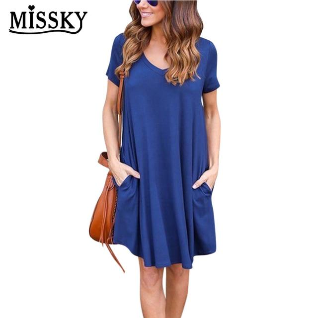 42342d34f30e MISSKY Women Summer Dresses Fashion Simple Causal V-neck Short Sleeves Dress  Casual Loose Solid Black Blue S-L Cotton Dress SAN0