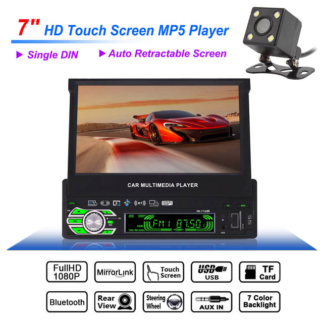 1 Din 7 Bluetooth Hd Touch Auto Retractable Screen Car Video Stereo Player Support