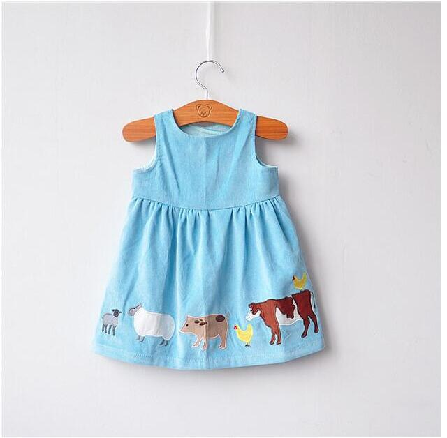 YBGRA0135 2017 Spring Fashion Baby Girls Dresses Solid Embroidery Animal Corduroy Girl Dress Sleeveless Lolita Girl
