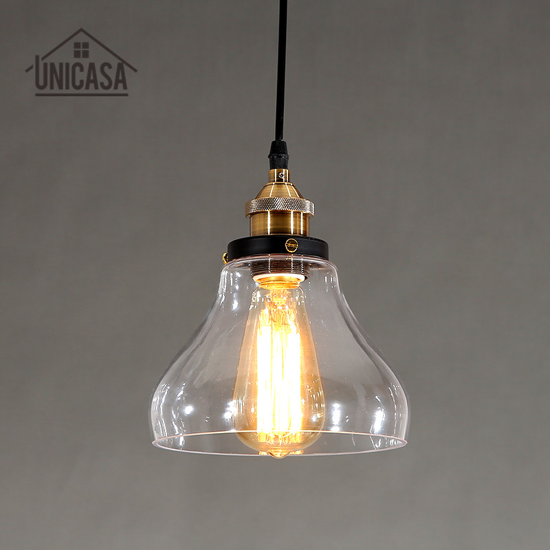Clear Glass Modern Pendant Lights Industrial Lighting Fixtures Kitchen Island Office Bar Hotel Antique Mini Pendant Ceiling Lamp square corners hanging antique copper 2 candelabra sockets clear glass