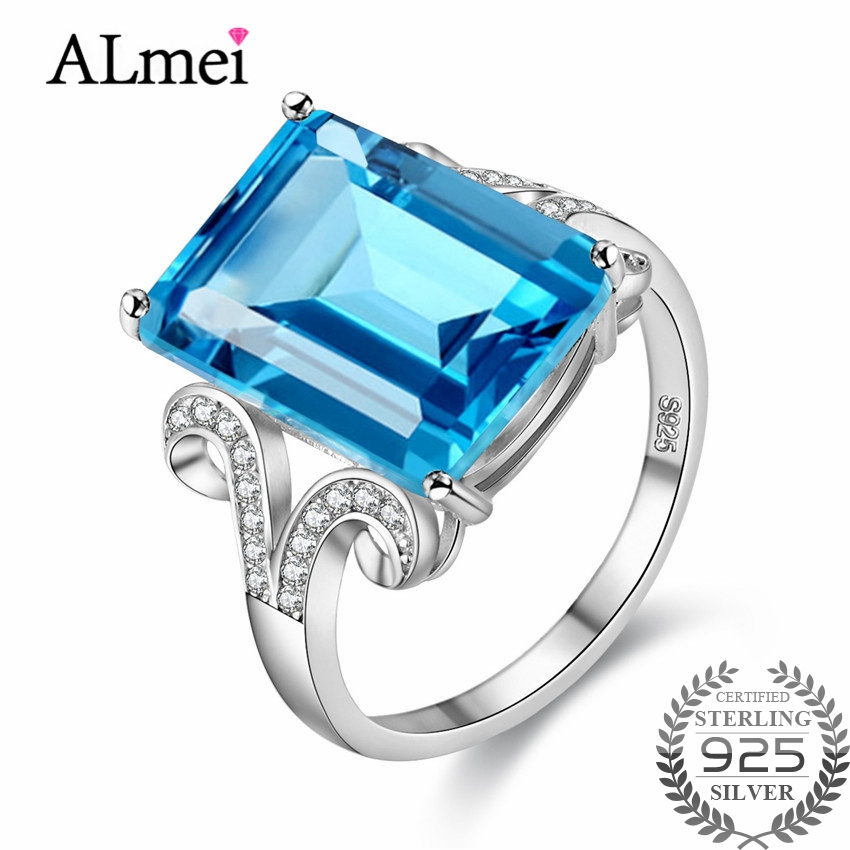 Uloveido 8ct Rectangle Light Blue Topaz Emerald Wedding Ring Women Luxury Silver 925 Sterling Fine Jewelry