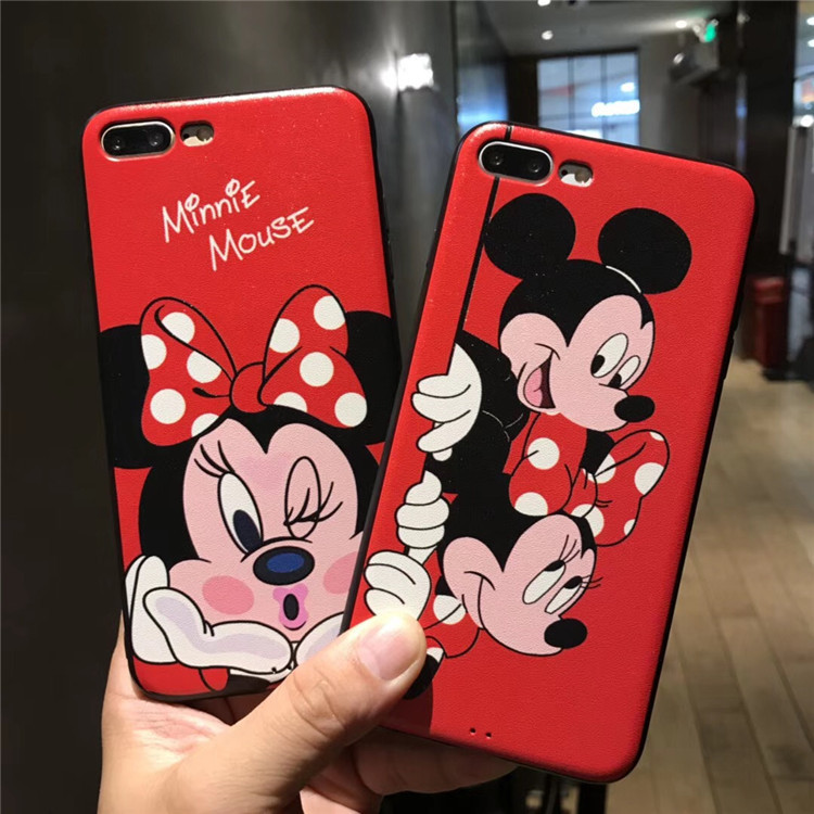 Funda zagter Cartoon Minnie Mickey Mouse Phone Case for iphone 7 6 6s 8 Plus Silicone Mirror Cover for iphone 6 6s 5s SE Case