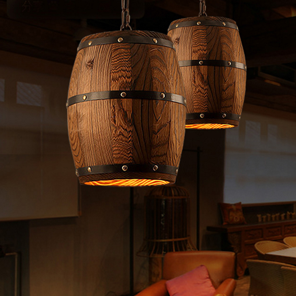 Country Wooden Barrel Pendant Lights Kitchen Island Lamp Creative ...