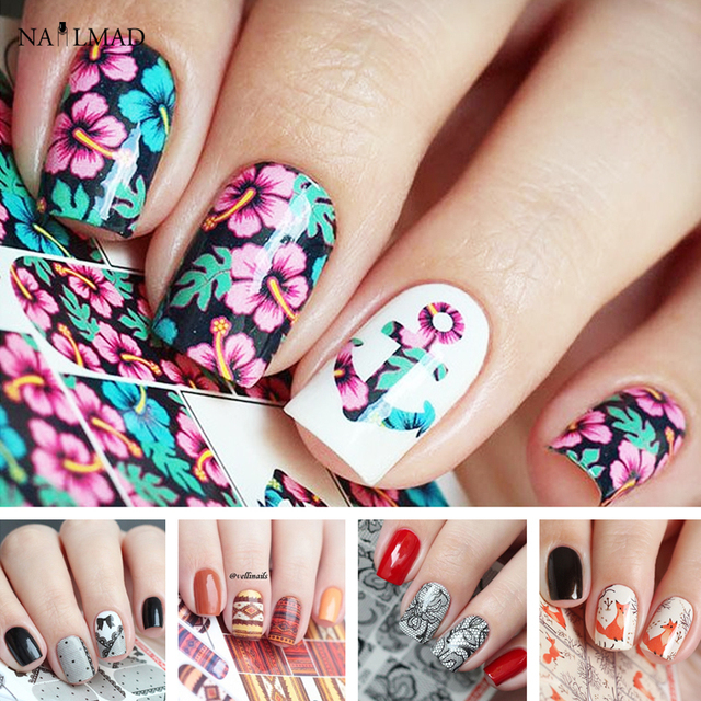 1 Sheet Flower Anchor Nail Art Water Decals Lace Water Decal Aztec ...