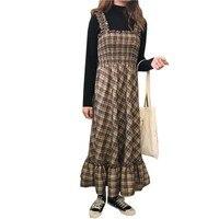 Newest Plaid Ruffles Dress Spring Autumn Strap Long Cotton Elegant Party Dress Women Elastic Waist Vestidos