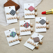 Bohopan 2PCS/Set Classic Plaid Hair Clips Set Houndstooth Pearl Pins For Women Hot Sales Female Rhinestone Accessories