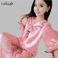 Сексуальный атласный шелк пижамы наборы высокого качества для женщин с длинным рукавом pijama осень зима дамы пижамы плюс размер пижамы femme 2XL A93