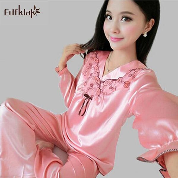 Sexy silk satin pajama sets high quality women long sleeve pijama ... b05b8cb31