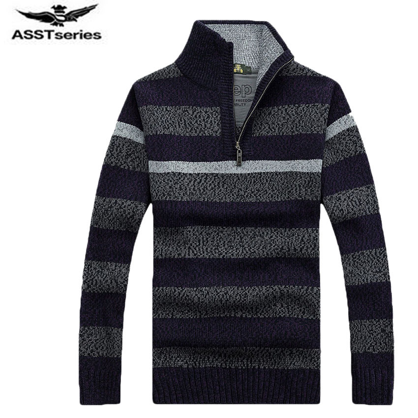 Free Shipping  Sweater  With Zipper Mens Striper Sweaters Autumn &spring Knitted Sweaters Underwear Mens Clothes 85