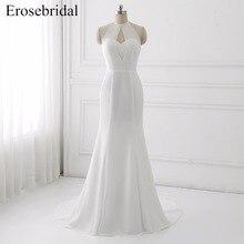 2018 New Chiffon Wedding Dresses Erosebridal Mermaid Dress Cheap Price Bridal Gown Sexy Backless Halter Vestido De Noiva