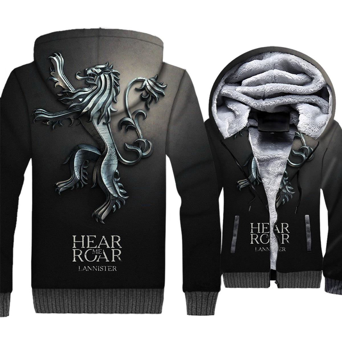 Game Of Thrones Lannister Hear Me Roar 3D Giubbotti Gli Uomini 2019 Autunno Inverno Caldo di Spessore Felpe degli uomini del Cappotto Del Bicchierino hip Hop Streetwear