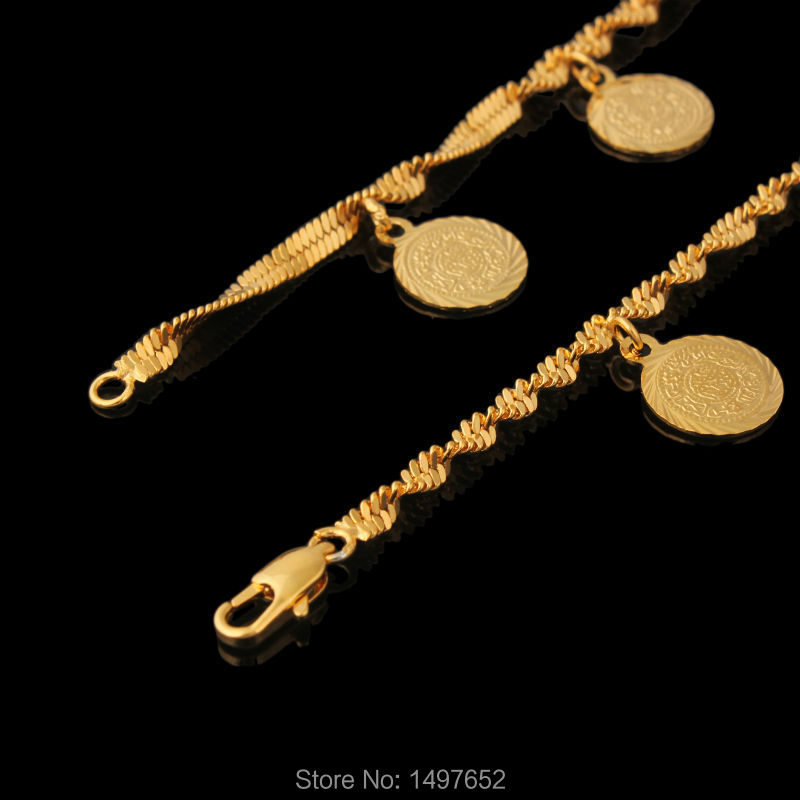 Wholesale Coin Money Sign Arabic Jewelry Great Gifts Gold Color  Muslim Islamic Charm Bracelets For Women