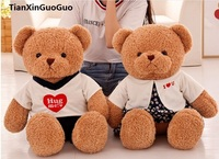 Large 65cm Cartoon Couples Bear Plush Toy Lovely Dressed Cloth Love Bears One Pair Soft Doll