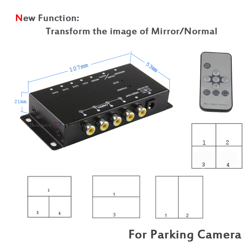 Koorinwoo Control Box Four Channels Available For Car Rear View Camera Video Automatic Switch Connecting Front Side Rear Cameras