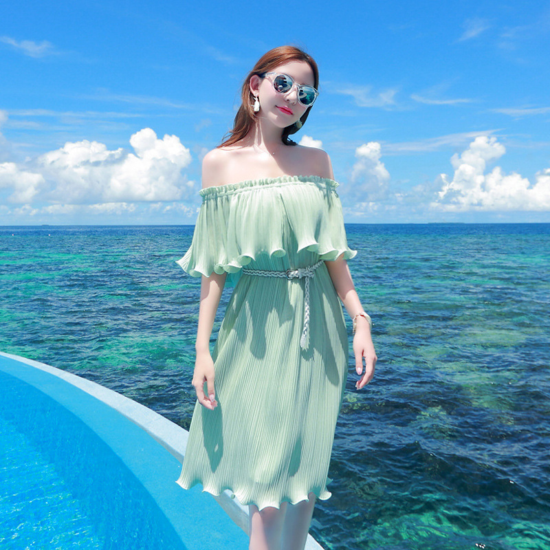 women fashion led off the shoulder beach dress pure color chiffon Bohemia seaside holiday dress with belt
