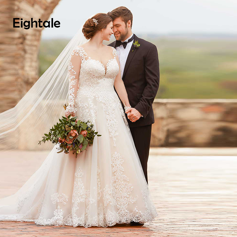Eightale Plus Size Wedding Dresses 2019 Appliques Lace Sweetheart A Line Wedding Gowns Long Sleeve Bride