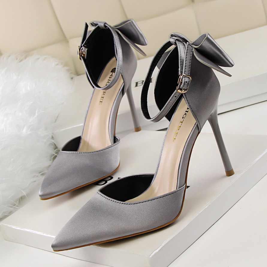 BIGTREE נשים משאבות 2018 חדש נשים גבוהה עקבים פרפר קשר נעלי חתונה אדום נשים נעלי אלגנטי מסיבת נעליים בתוספת גודל 35-43