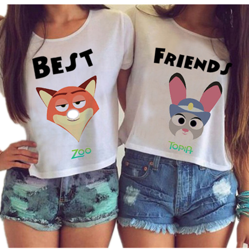 2017 Women Harajuku Best Friends Couple Crop Tops Cute Intimate Cartoon  Sexy Kwaii BFF Irregular Tumblr Blusas WCT33 In T Shirts From Womenu0027s  Clothing ...