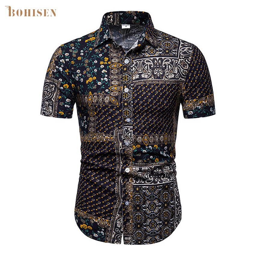 BOHISEN Mens African Dashiki Dress Shirts New Short Sleeve Shirt Men Casual Tribal Ethnic Print African Dress in Africa Clothing from Novelty Special Use