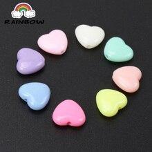 Смешанные конфеты акриловые разделительные бусины в форме сердца для ювелирных изделий ручной работы DIY 12x11 мм 100 шт