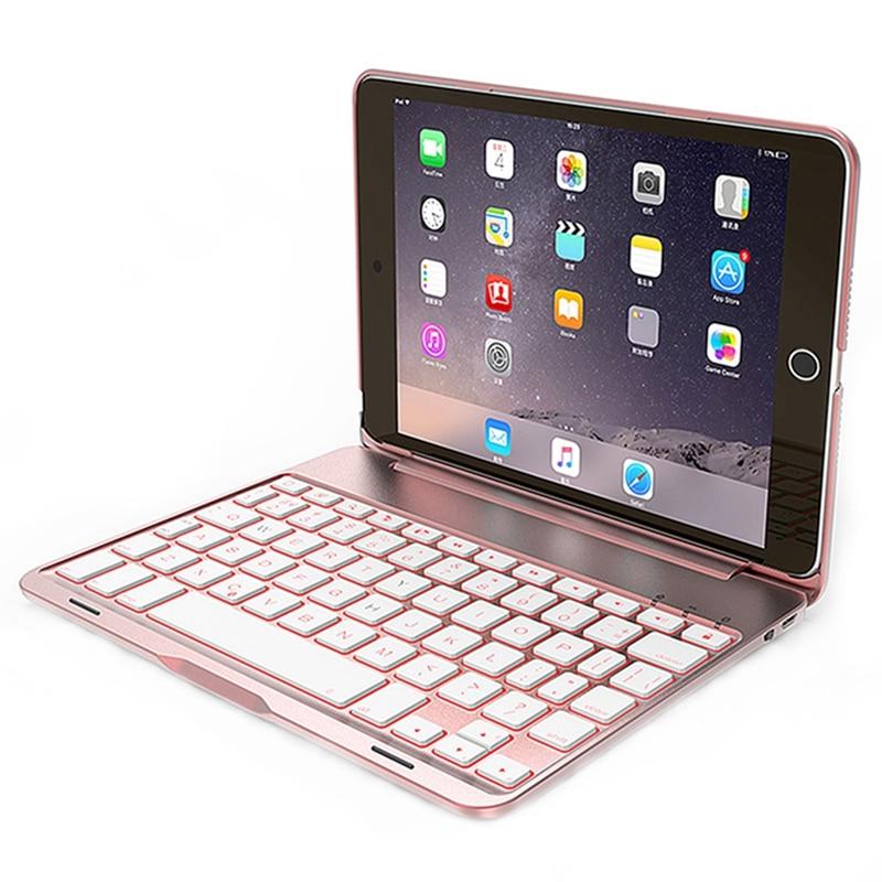 OOTDTY Bluetooth Keyboard Protection Shell Aluminum Backlit Bluetooth Keyboard Smart Folio Case 7 Backlight For iPad Mini 4 laptop keyboard for hp for envy 4 1014tu 4 1014tx 4 1015tu 4 1015tx 4 1018tu backlit northwest africa 692759 fp1 mp 11m6j698w