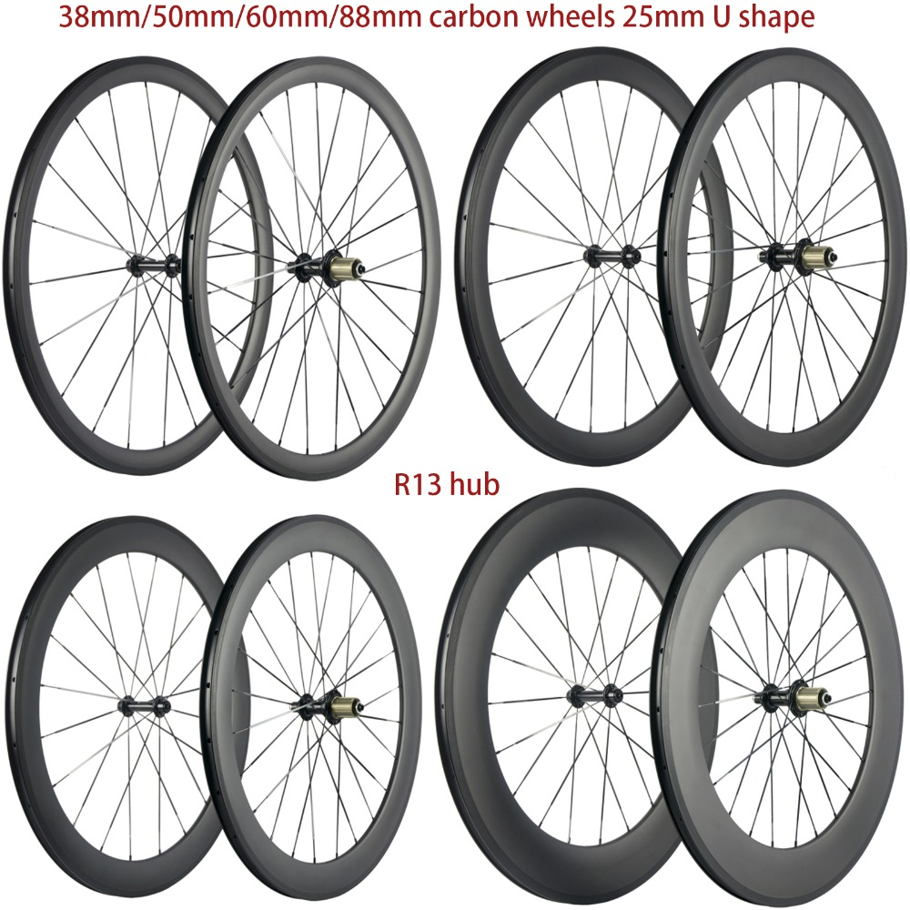 High TG 700C Carbon Wheels 38mm 50mm 60mm 88mm Road Carbon Wheelset Clincher 25mm U shape