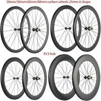 High TG 700C Carbon Wheels 38mm/50mm/60mm/88mm Road Carbon Wheelset Clincher 25mm U shape Cycle Bicycle Wheels Basalt Brake