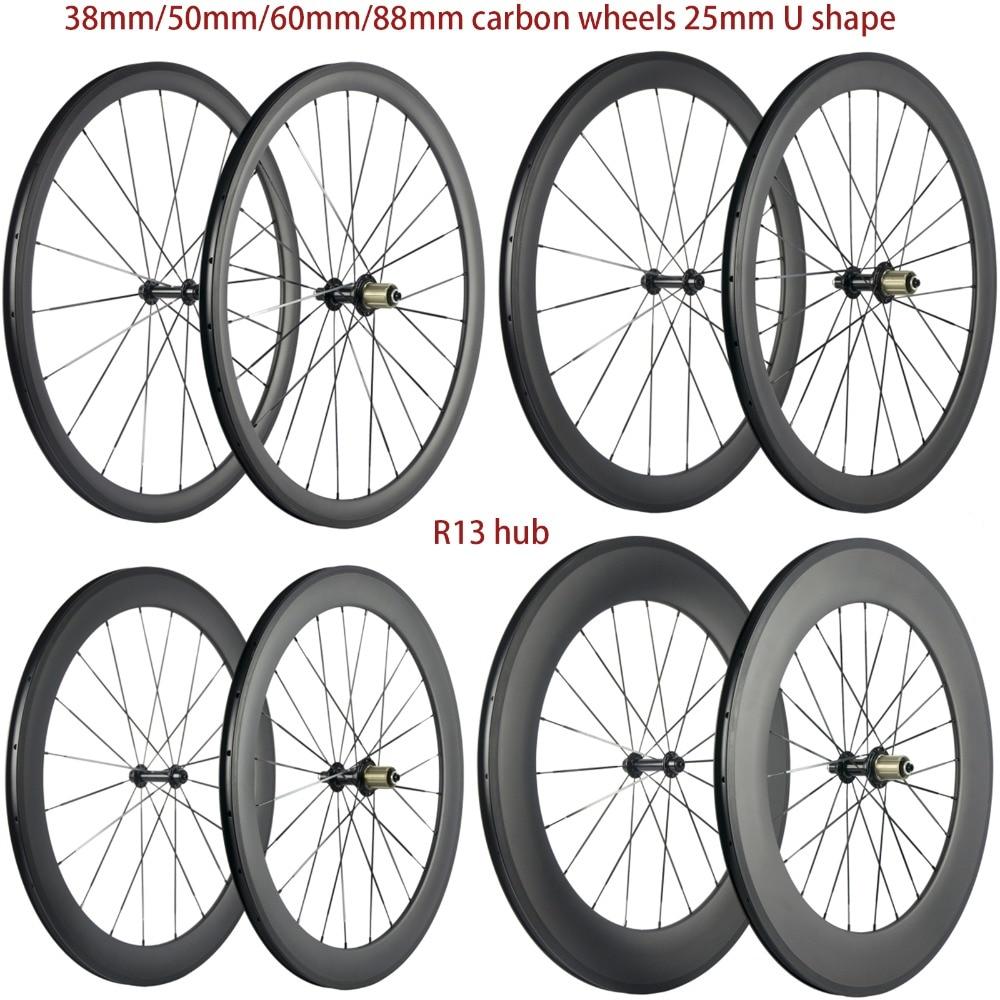 Hohe TG 700C Carbon Räder 38mm/50mm/60mm/88mm Straße Carbon Laufradsatz Klammer 25mm U form Zyklus Fahrrad Räder Basalt Brems