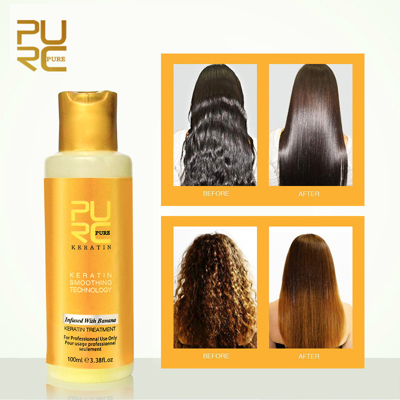 PURC 8% Banana flavor Brazilian Keratin Treatment Straightening Hair Repair Damaged Frizzy Hair Make Hair Smooth and Shiny 100ml image