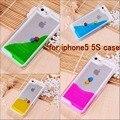 Peces liquid glitter arenas movedizas casos para apple iphone se 5 5s cubierta de plástico duro claro transparente cristalino de la cubierta del teléfono móvil