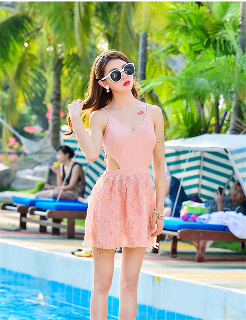 New Arrival 2016 Sexy One Piece Swimsuit Lace Swimwear Women Cut Out Bathing Skirt Beachwear V Neck Padded Swim Suit women one piece triangle swimsuit cover up sexy v neck strappy swimwear dot dress pleated skirt large size bathing suit 2017