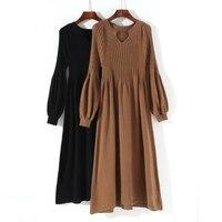 אוסף חדש נשים החורף קצרות אונליין רופף מלא לנטרן שרוול סרוג שמלה ארוכה גבירותיי עירוני Fit & אבוקה שמלה כל התאמה