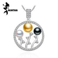 Mintha 925 فضة البوهيمي اللؤلؤ الخرز قلادة يترك سلسلة قلادة ، اللؤلؤ والمجوهرات الصداقة قلادة قلادة النساء