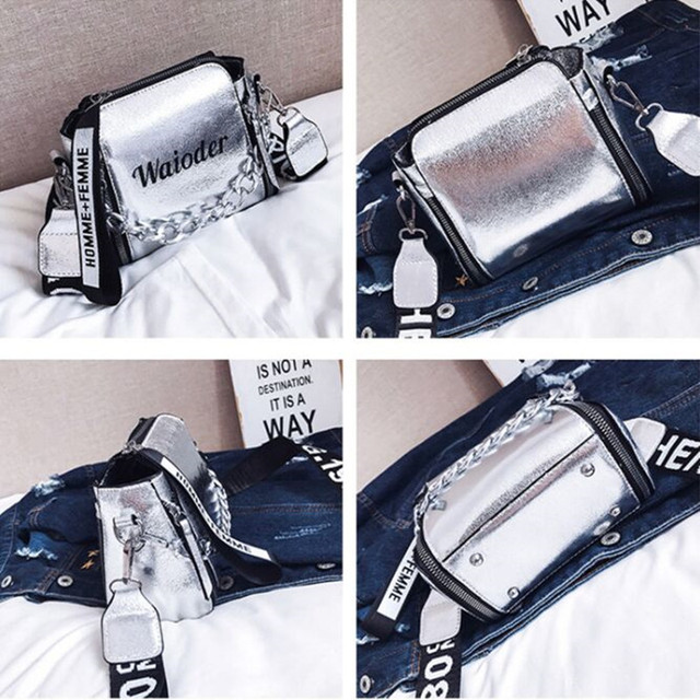 DikizFly Laser Women Bags Fashion Luxury Shoulder Handbags Chains Crossbody Bag Women 2018 Letter Mini Flap Purse bolsa feminina 5