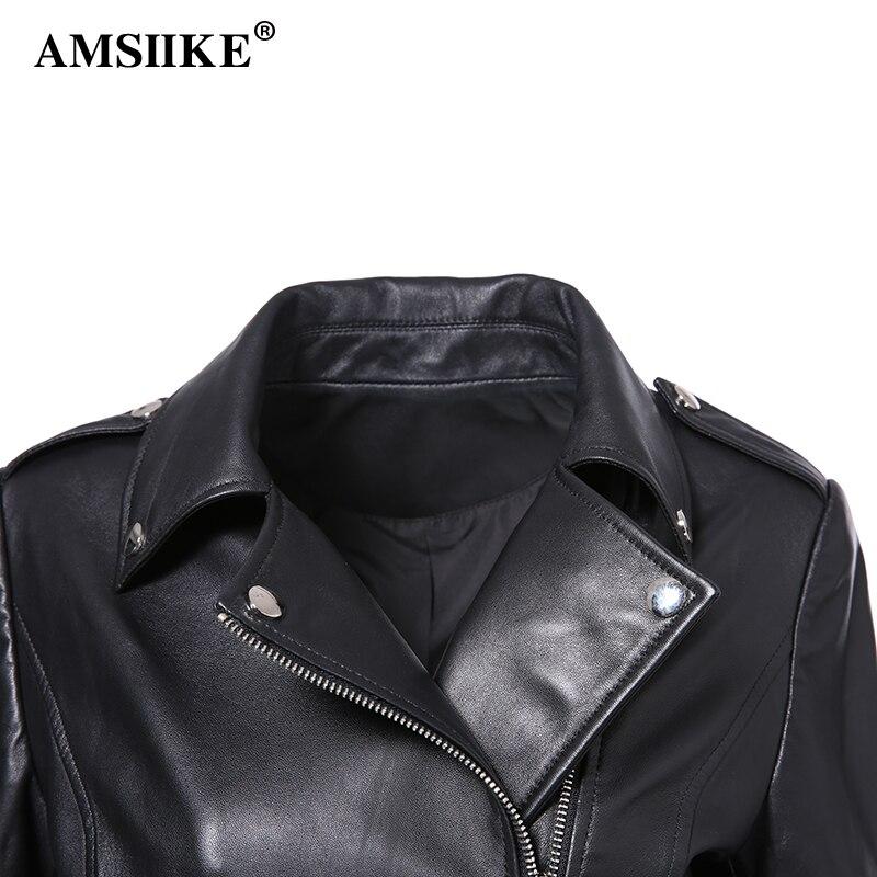 Peau À Glissière Moto Cuir Femmes A1803 Noir Revers Des Véritable Mouton Vestes En Fermetures Avec Manteaux Survêtement Amsiike Veste Courte Ceintures De qwH007