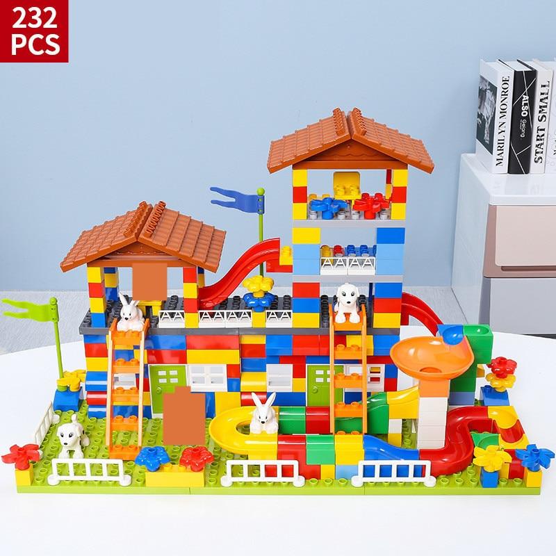 89-232 pièces bricolage ville maison toit grandes particules blocs de construction ensembles château Duplo amis briques jouets éducatifs pour les enfants