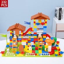 89-232Pcs City House Roof Big Particle Building Blocks Sets Castle LegoINGLs Duplo Friends Bricks Educational Toys For Children цены