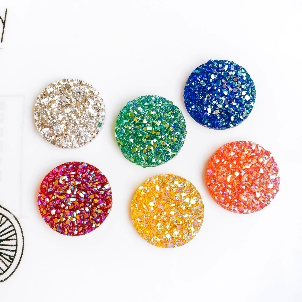 20mm 25mm Mixed Colors Resin Glass Cabochon Flat Back Stone Fit Earring Pendant Base Jewelry Components Diy Material 30pcs