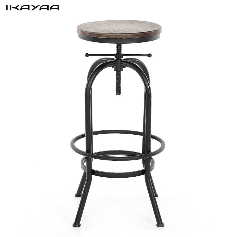 US $42.84 32% OFF|iKayaa US Stock Industrial Style Height Adjustable Swivel  Bar Stool Natural Pinewood Top Kitchen Dining Breakfast Chair-in Bar ...