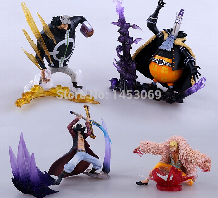4pcs/set Anime Catoon One Piece Mihawk Bartholemew Kuma Gekko Moria Doflamingo PVC Action Figure Collectible Model Toys anime one piece mini pvc figures toys 10pcs set luffy ace boa hankokku dracule mihawk doflamingo kuma teach jinbe moria edward