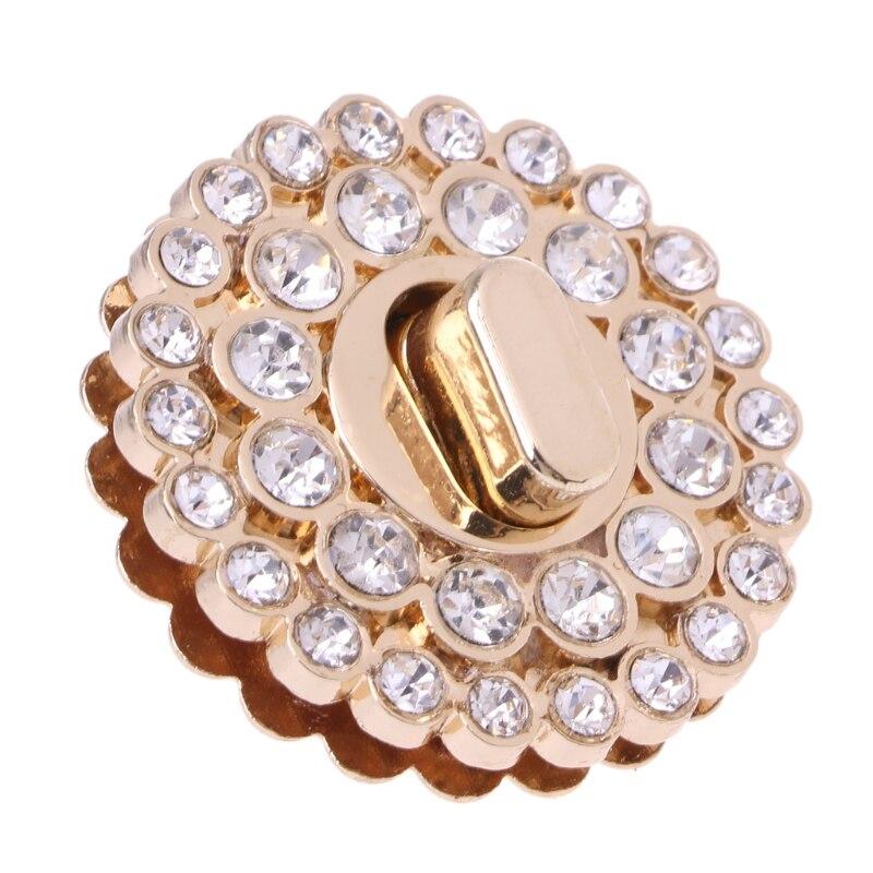 1.3x4cm Rhinestone Metal DIY Clasp Turn Twist Lock For Women Handbag Shoulder Bag Purse Gold Color