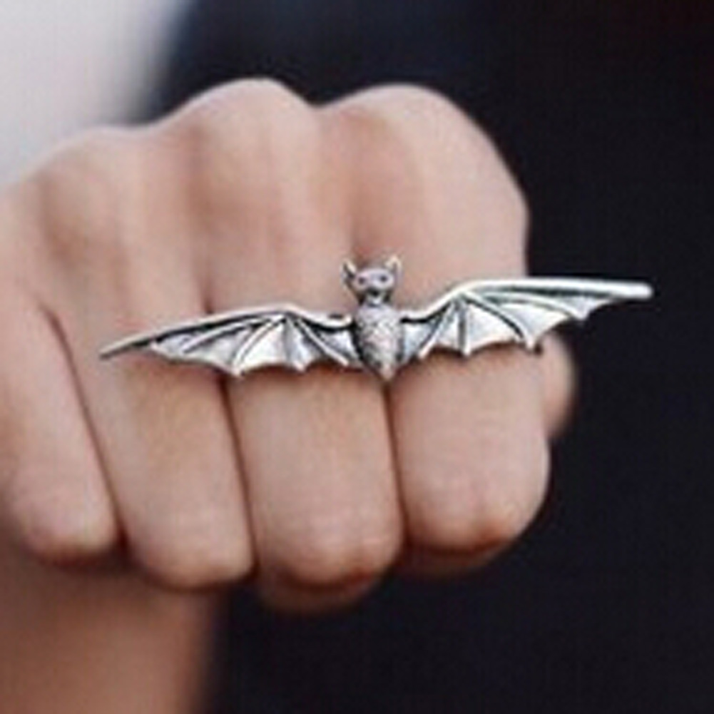 New Hottest New Design Concise Alloy Double Bat Ring Cool Men\'S Punk ...