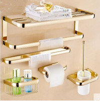 Brass Bathroom Accessories Set Gold Square Paper Holder Towel Bar Soap Basket Towel Rack Glass Shelf