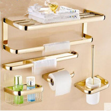 цена Brass Bathroom Accessories Set, Gold Square Paper Holder,Towel Bar,Soap basket,Towel Rack,Glass Shelf bathroom Hardware set онлайн в 2017 году