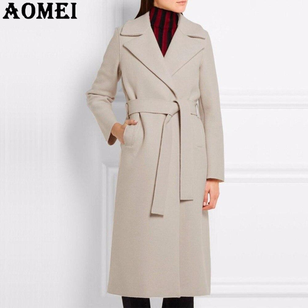 Women Fashion Long Wool Coats Beige Wear To Work Office Lady Outwear Clothing Tweed 2019 New Winter Fall Spring Overcoat Cape