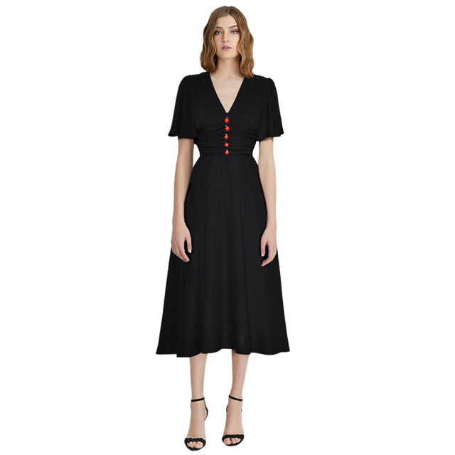 01de60b6e57b women black dresses ladybug button v neck butterfly sleeves ruched empire  waist fit and flare dress midi party dresses for women