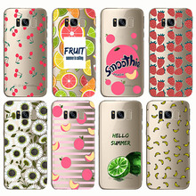 Summer Fruit Smoothie Peach Cherry lemon Banana Lemon Phone Case Fundas For Samsung  Note5 Galaxy S8 S9 edge plus S6 S7 Note4 8