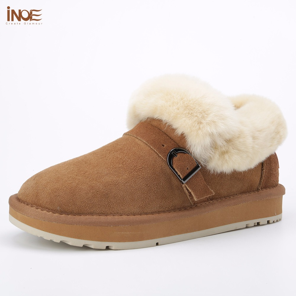 INOE 2018 new style genuine sheepskin suede leather women winter ankle snow boots fashion sheep fur lined winter shoes flats inoe 2018 new genuine sheepskin leather sheep fur lined short ankle suede women winter snow boots for woman lace up winter shoes