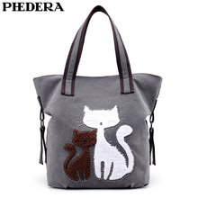 PHEDERA New Female Canvas Shoulder Bag Casual Cat Print Women Handbag Blue Brown Purse 2019 Arrival