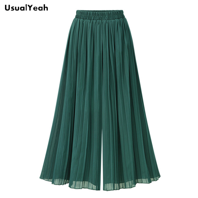 UsualYeah Women New Fashion Pleated Chiffon Loose   Wide     Leg     Pants   Plus Size Elastic Waist Calf-Length Trousers Black Green XL 4XL